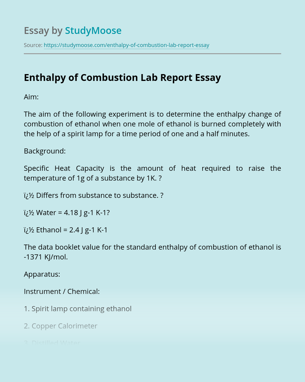 Enthalpy of Combustion Lab Report