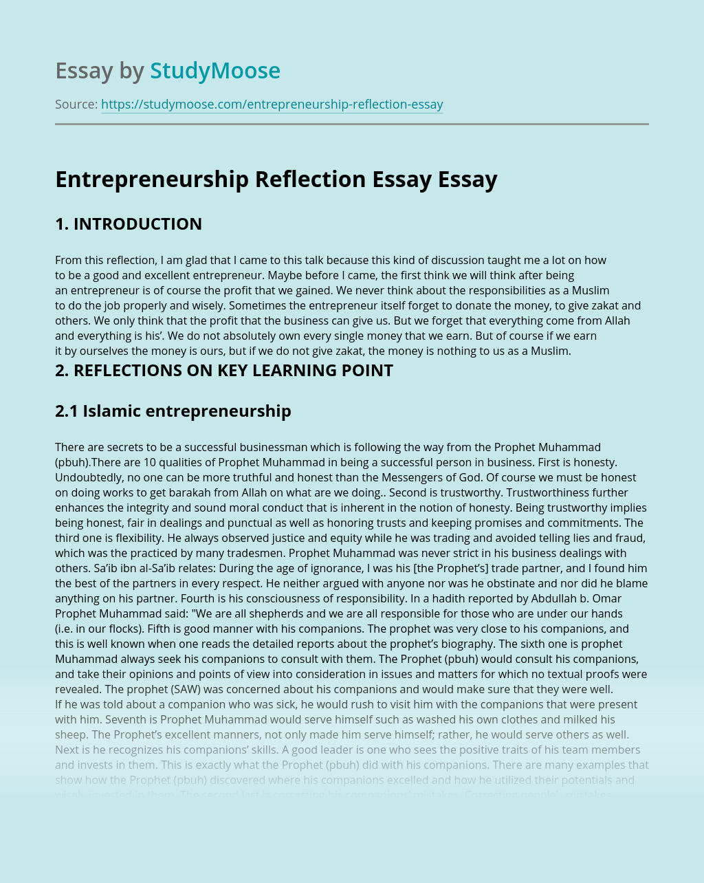 Entrepreneurship Reflection Essay