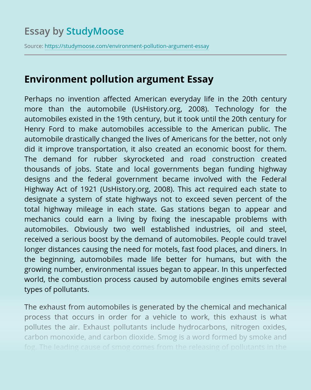 Environment pollution argument