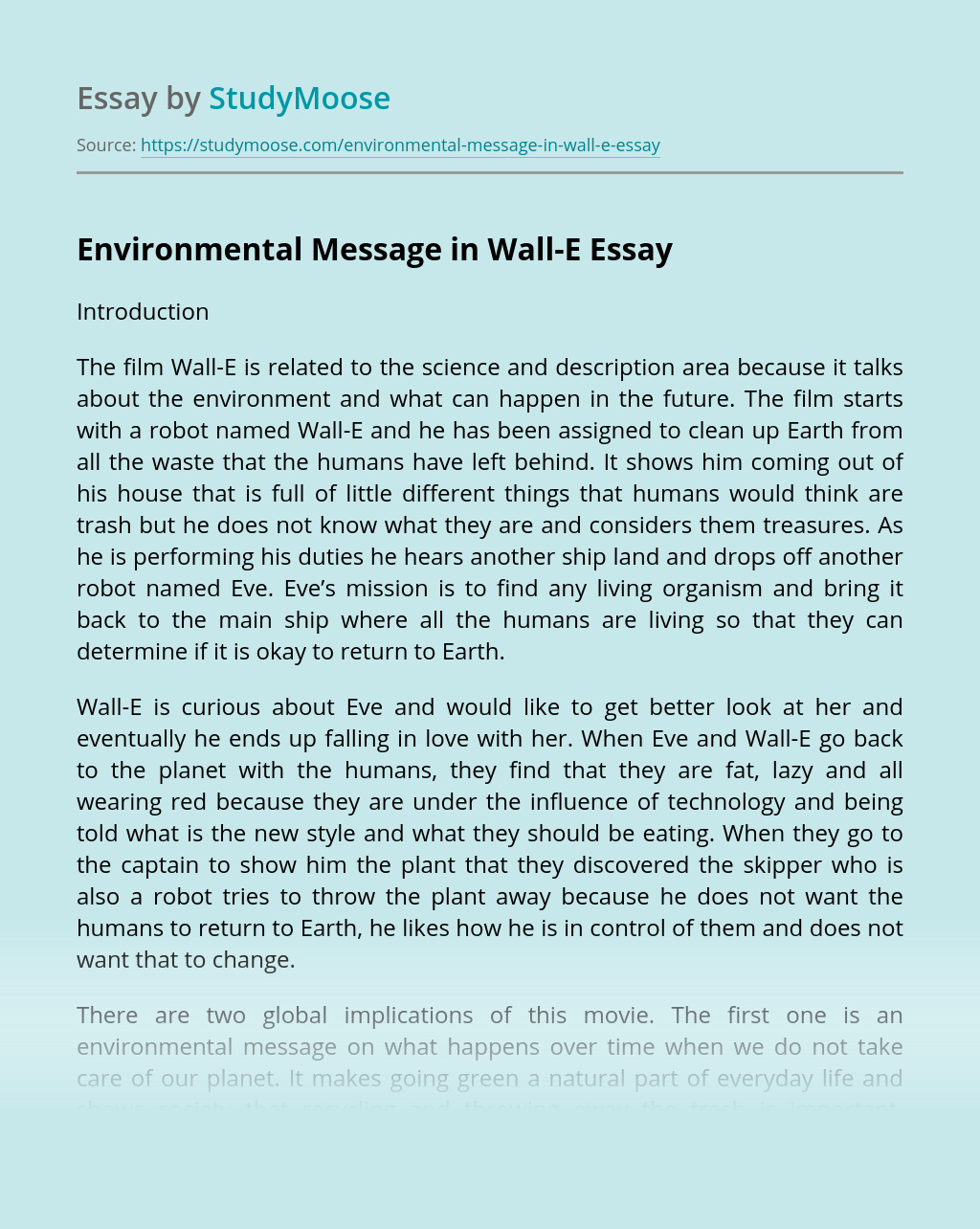 Environmental Message in Wall-E