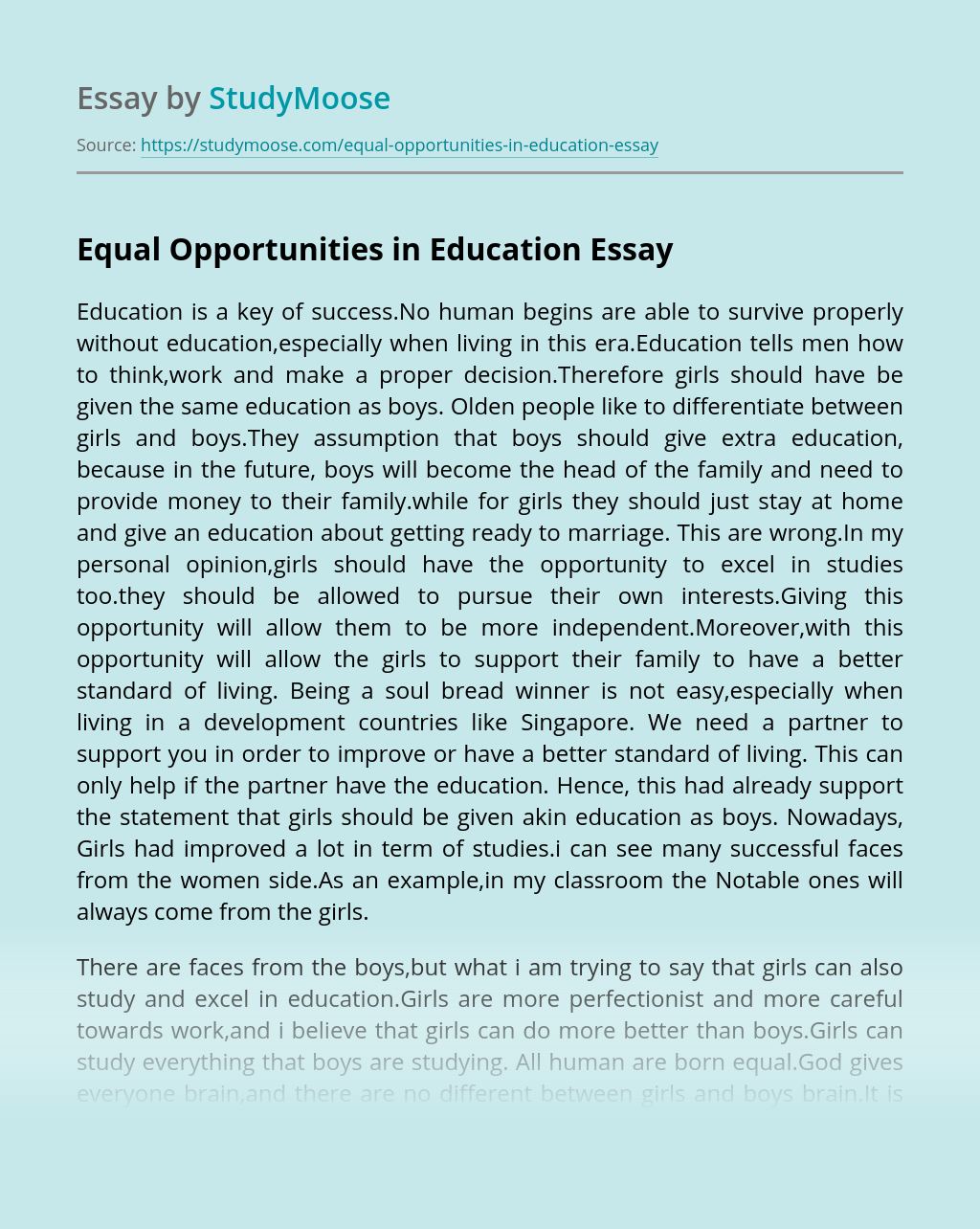 Equal Opportunities in Education