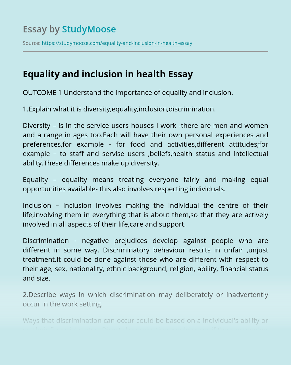 Equality and inclusion in health