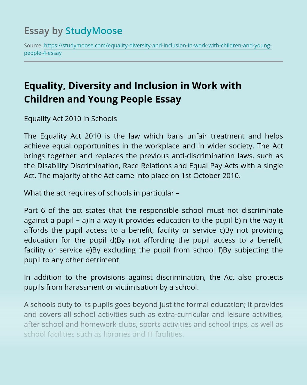 Equality, Diversity and Inclusion in Work with Children and Young People