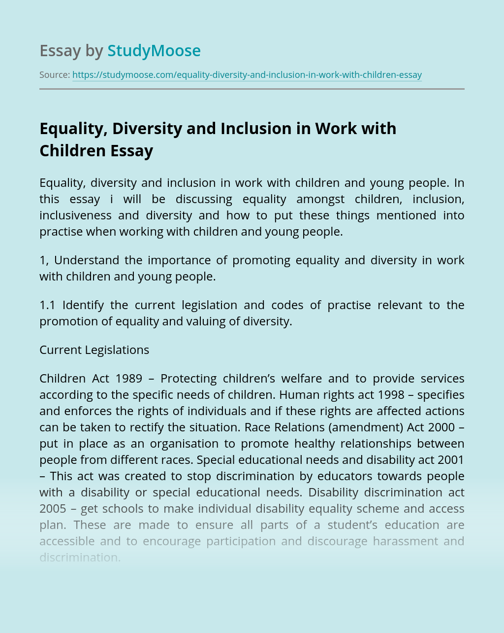 Equality, Diversity and Inclusion in Work with Children
