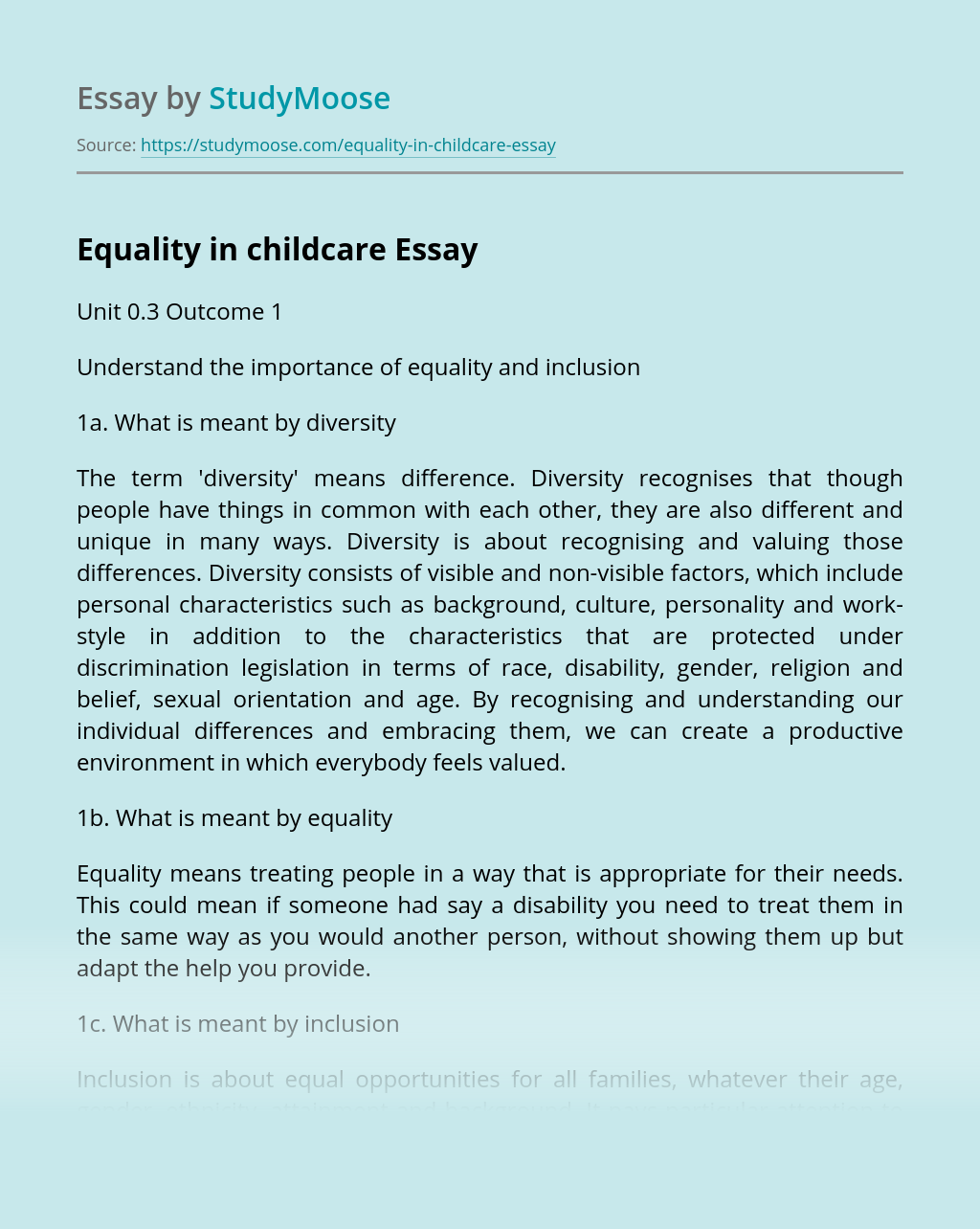 Equality in childcare