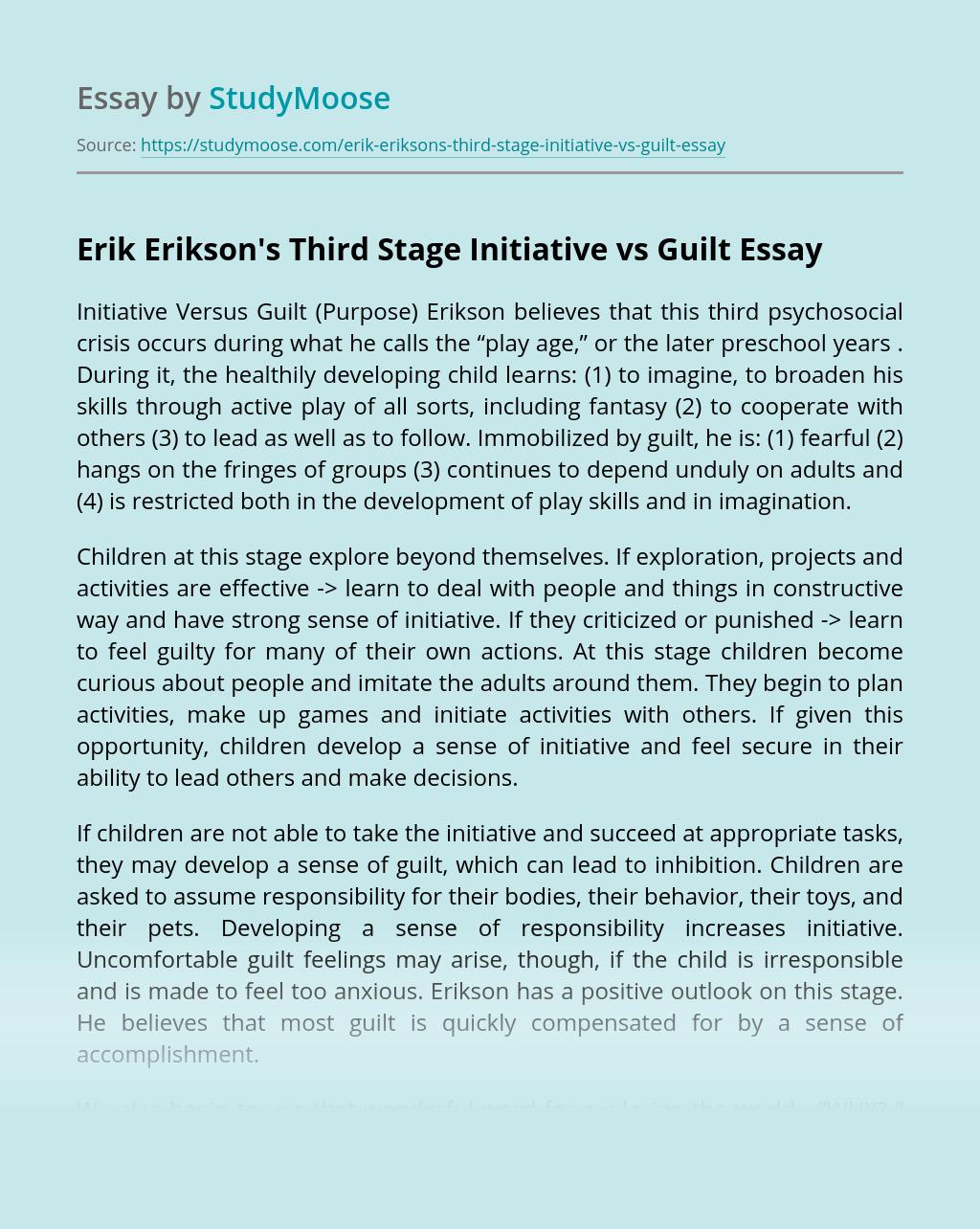 Erik Erikson's Third Stage Initiative vs Guilt