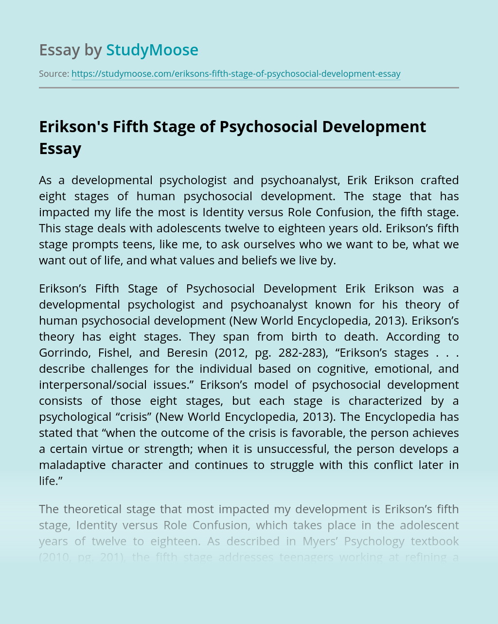 Erikson's Fifth Stage of Psychosocial Development