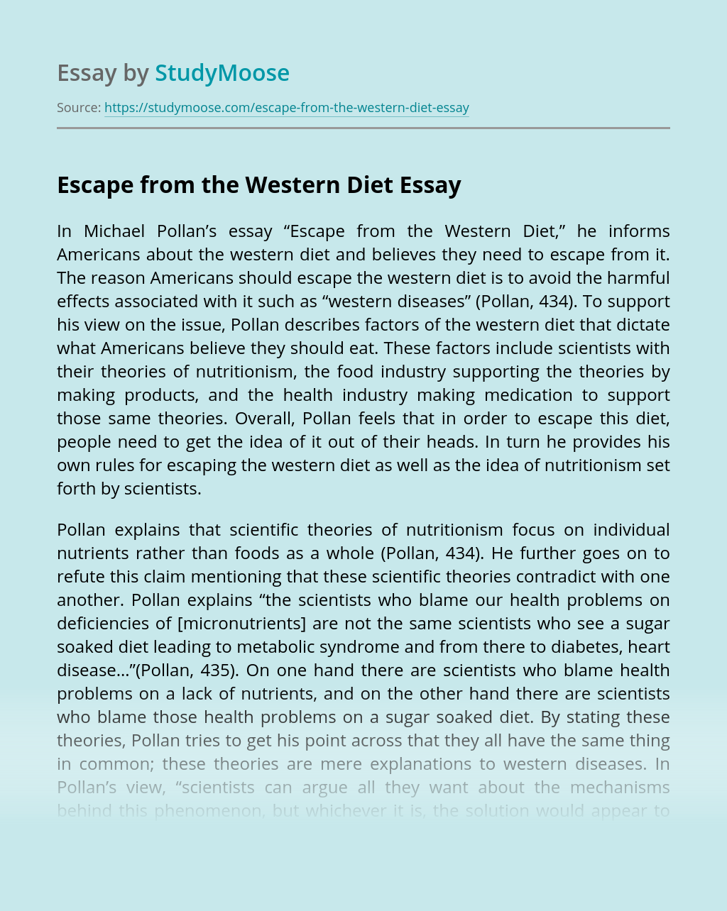 Escape from the Western Diet