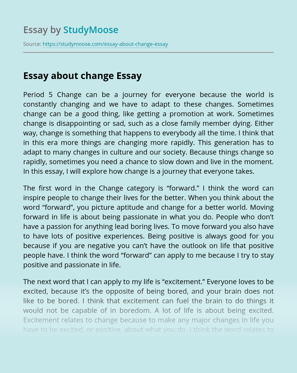Essay about change