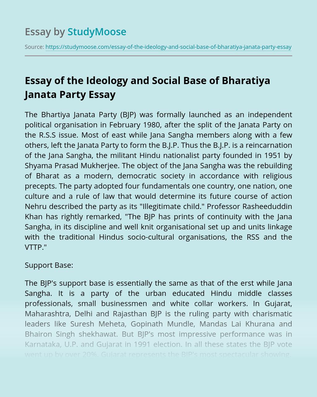 Essay of the Ideology and Social Base of Bharatiya Janata Party