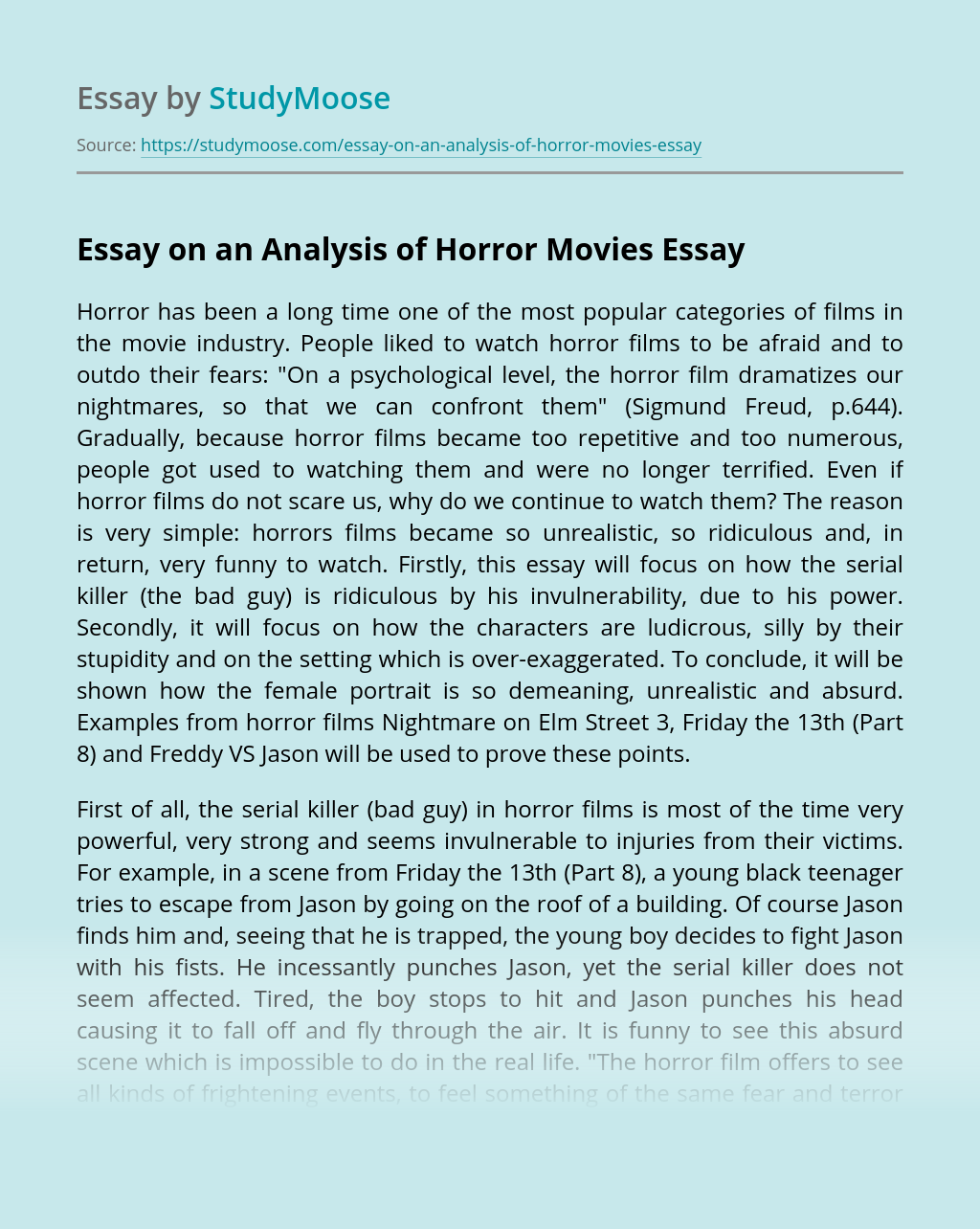 Essay on an Analysis of Horror Movies