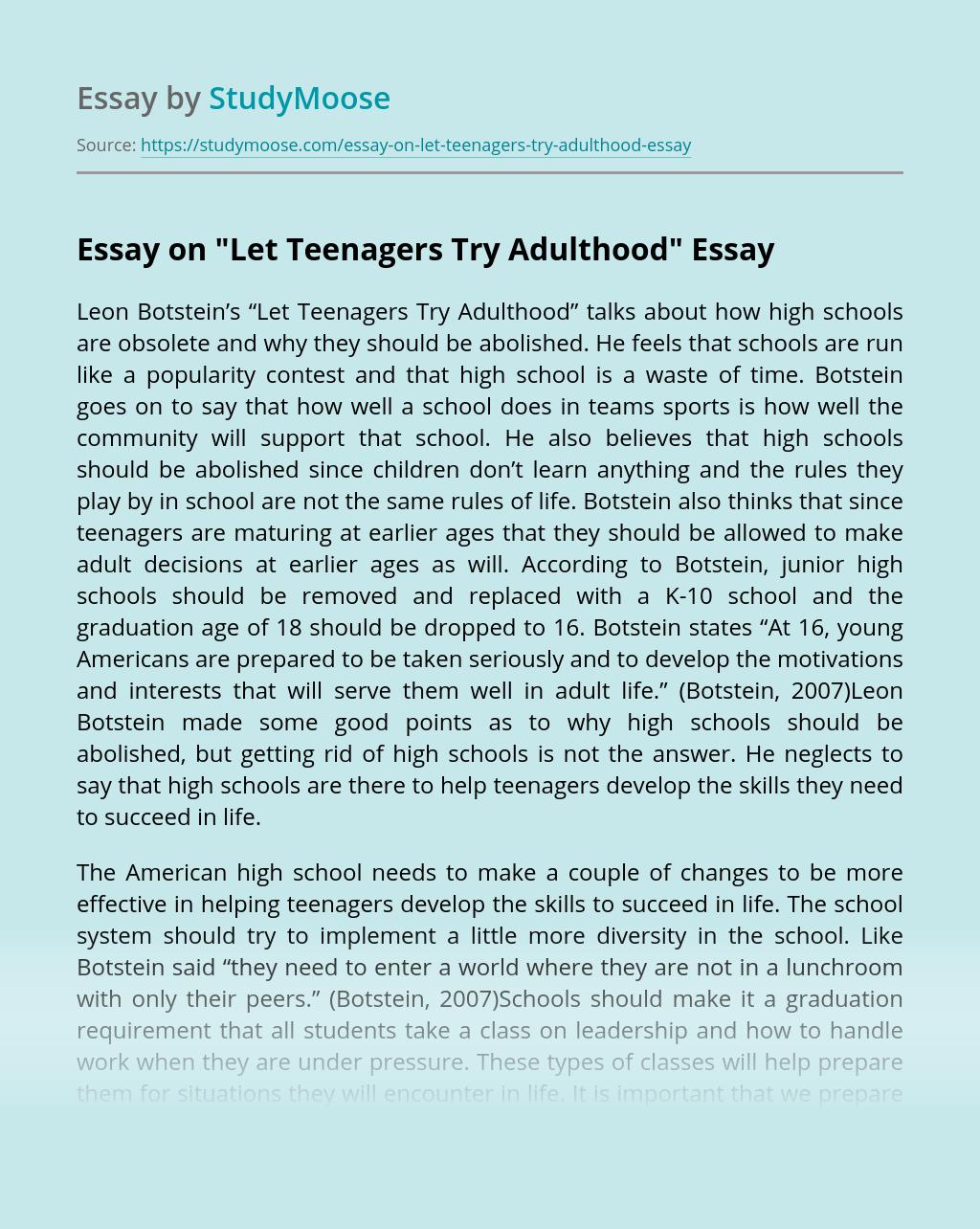 "Essay on ""Let Teenagers Try Adulthood"""