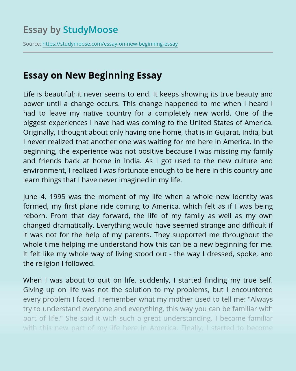 Essay on New Beginning