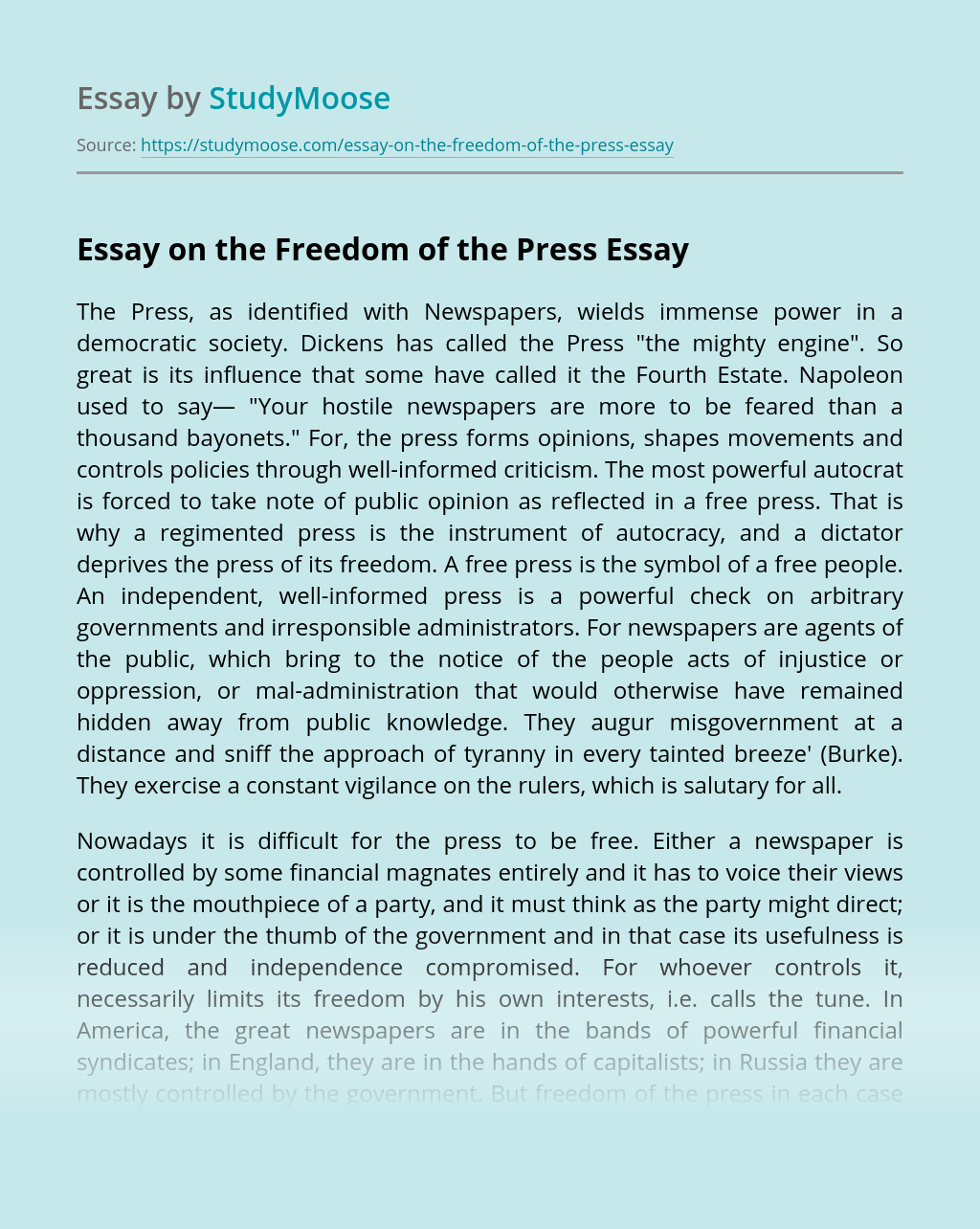 ?Essay on the Freedom of the Press
