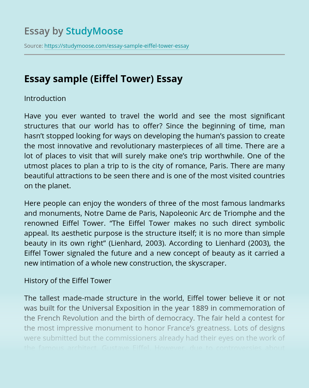 Essay sample (Eiffel Tower)