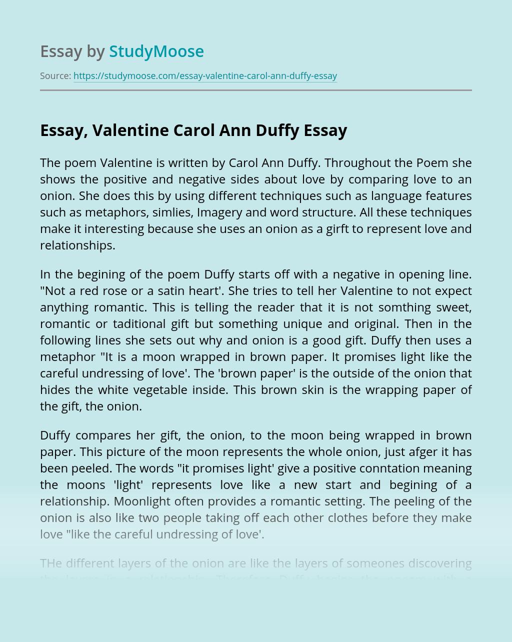 Essay, Valentine Carol Ann Duffy