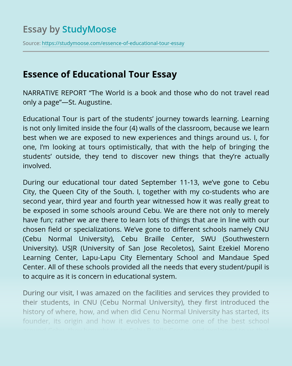 Essence of Educational Tour