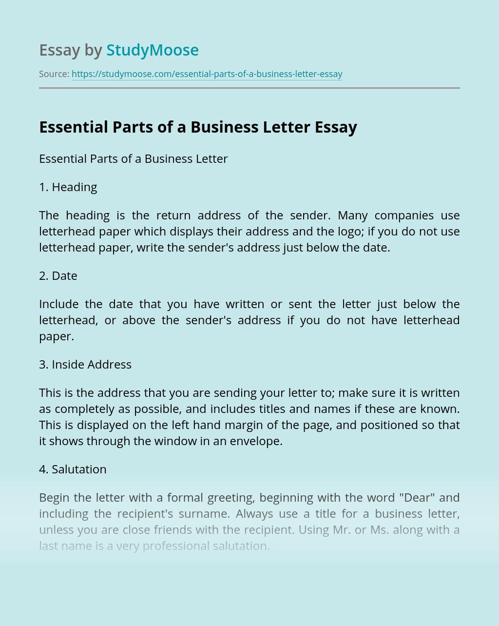 Heading For Business Letter from studymoose.com