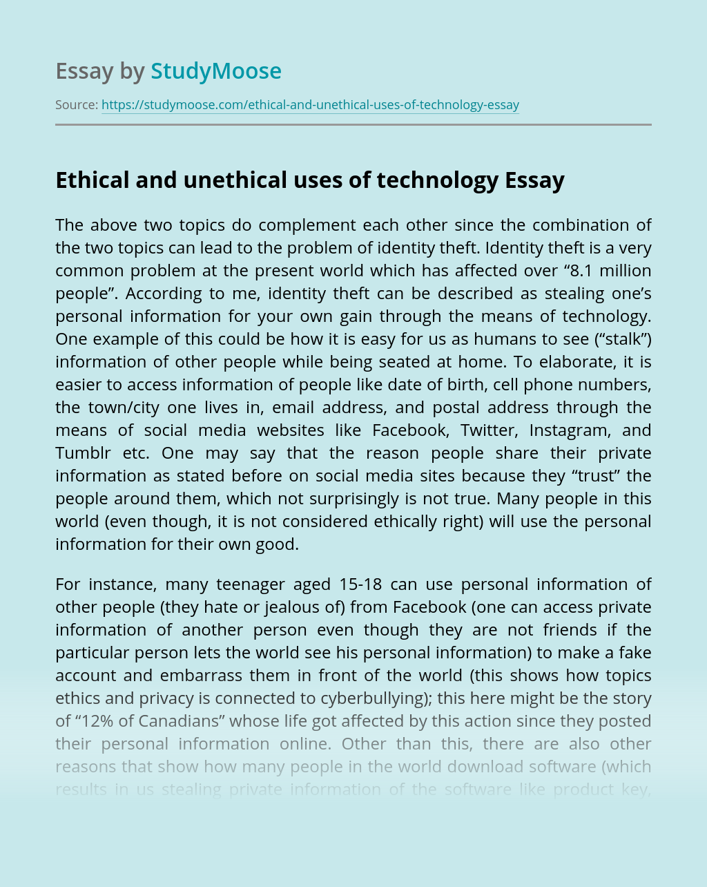 Ethical and unethical uses of technology