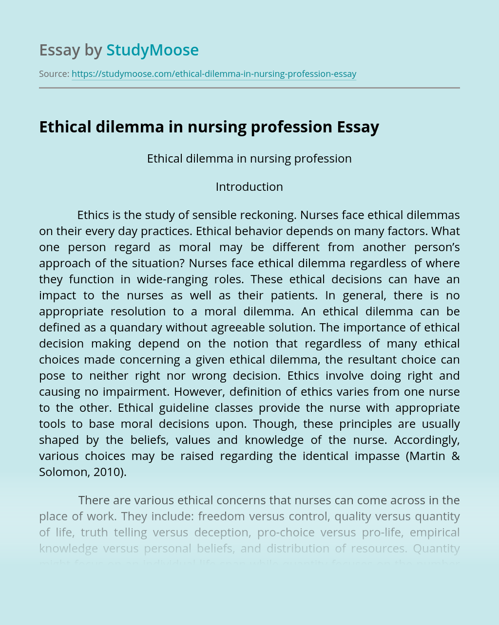 Ethical dilemma in nursing profession