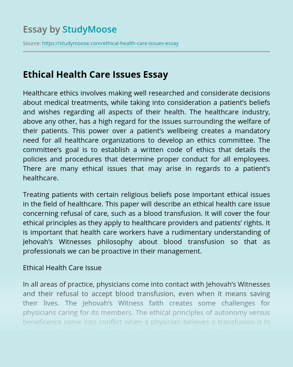 Ethical Health Care Issues