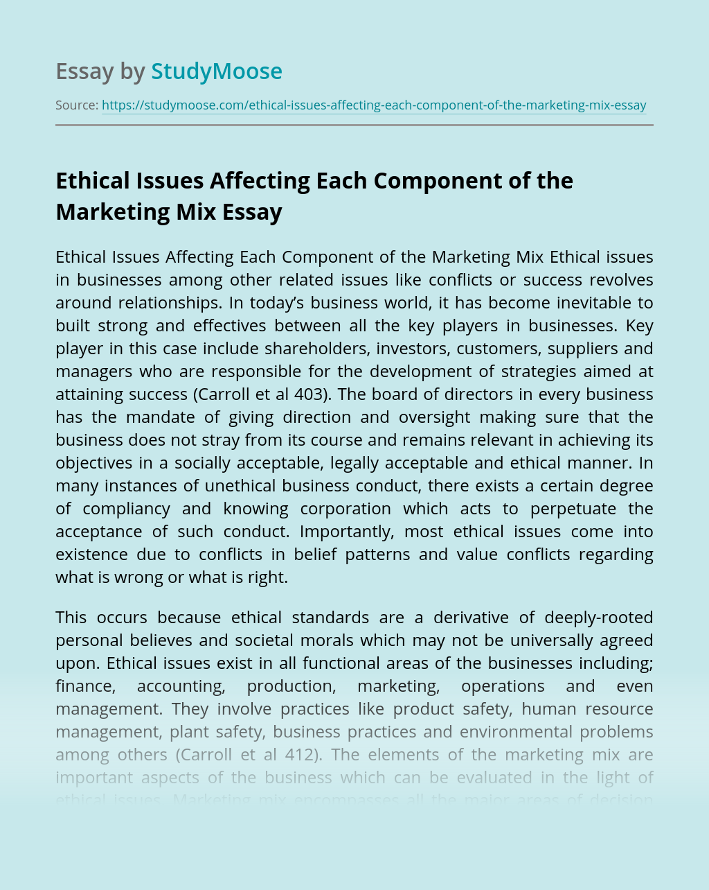 Ethical Issues Affecting Each Component of the Marketing Mix