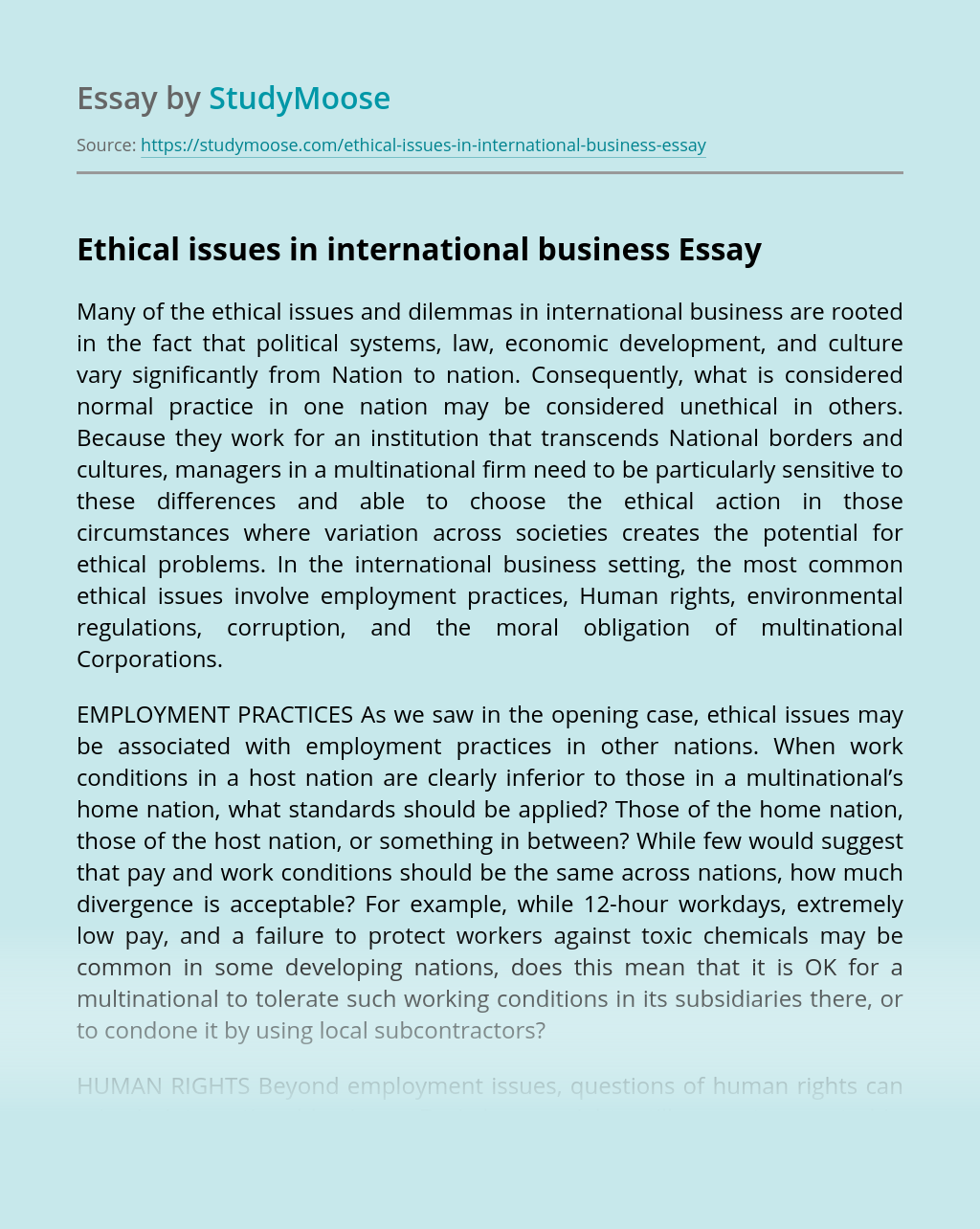 Ethical issues in international business