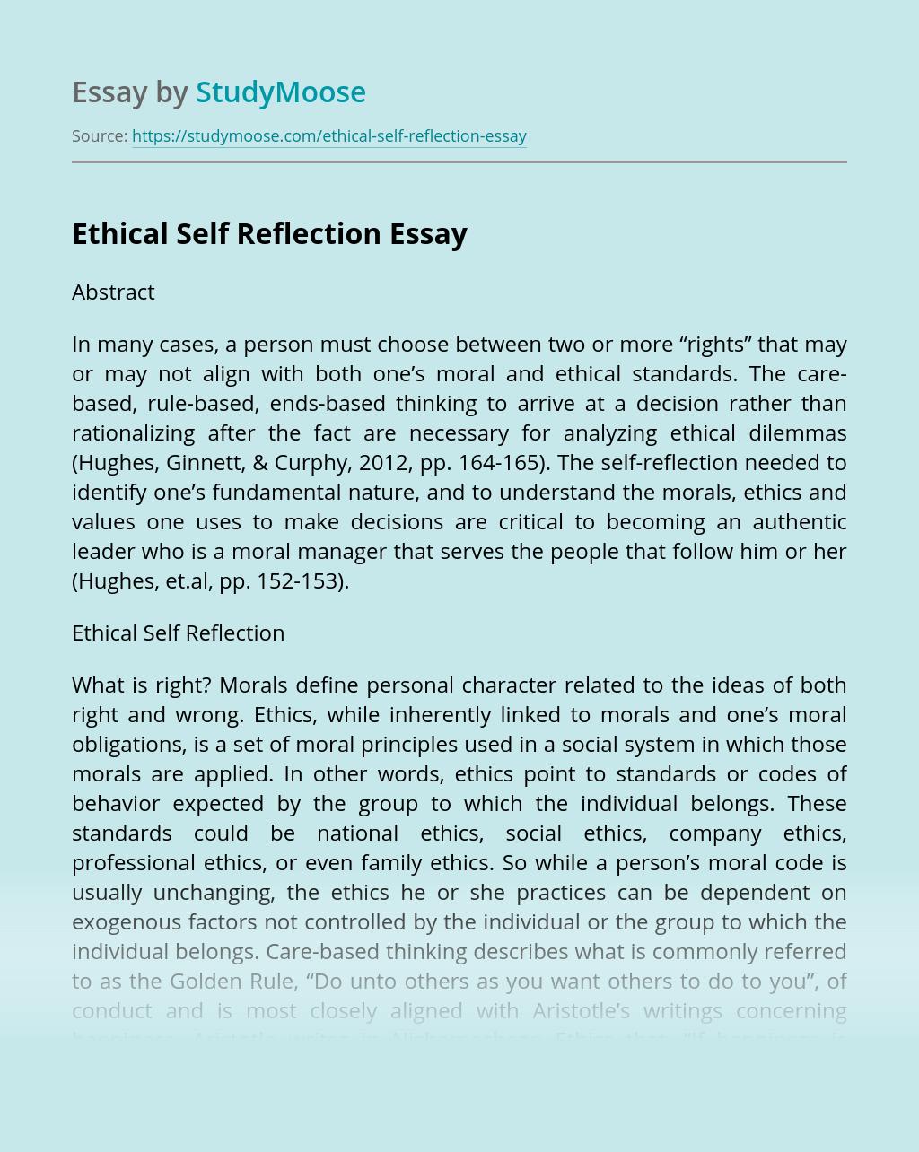 Ethical Self Reflection