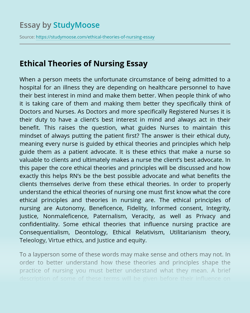 Ethical Theories of Nursing