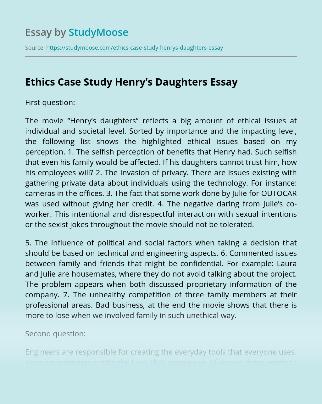 Ethics Case Study Henry's Daughters