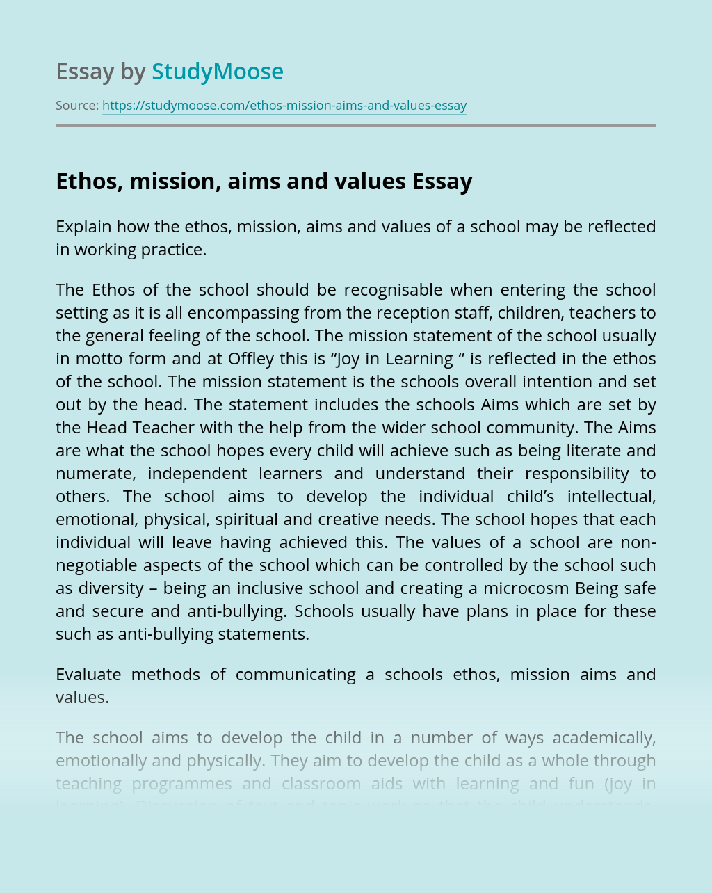 Ethos, mission, aims and values