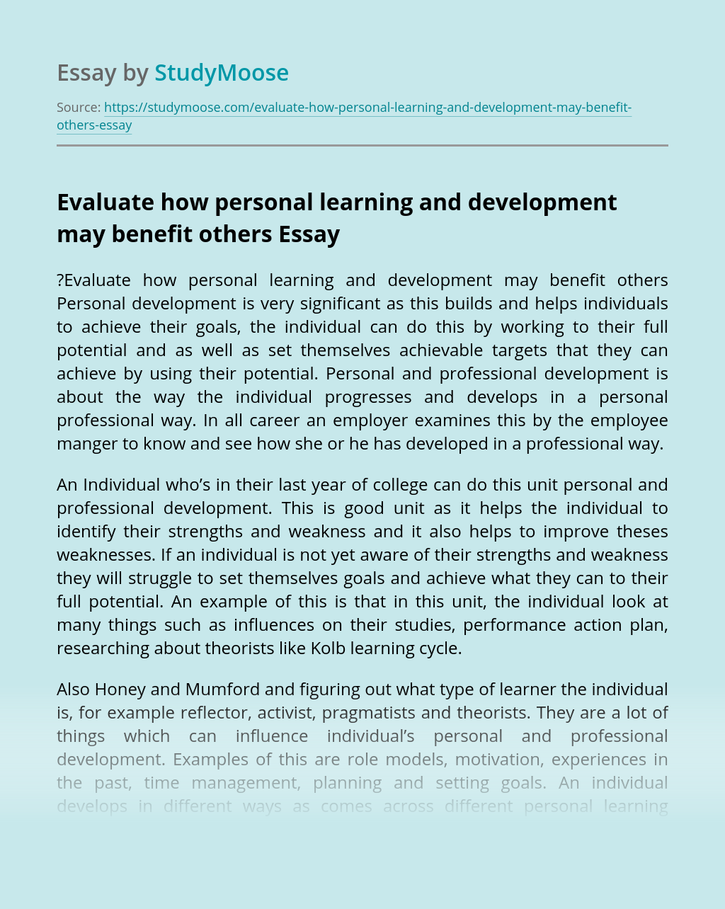 Evaluate how personal learning and development may benefit others