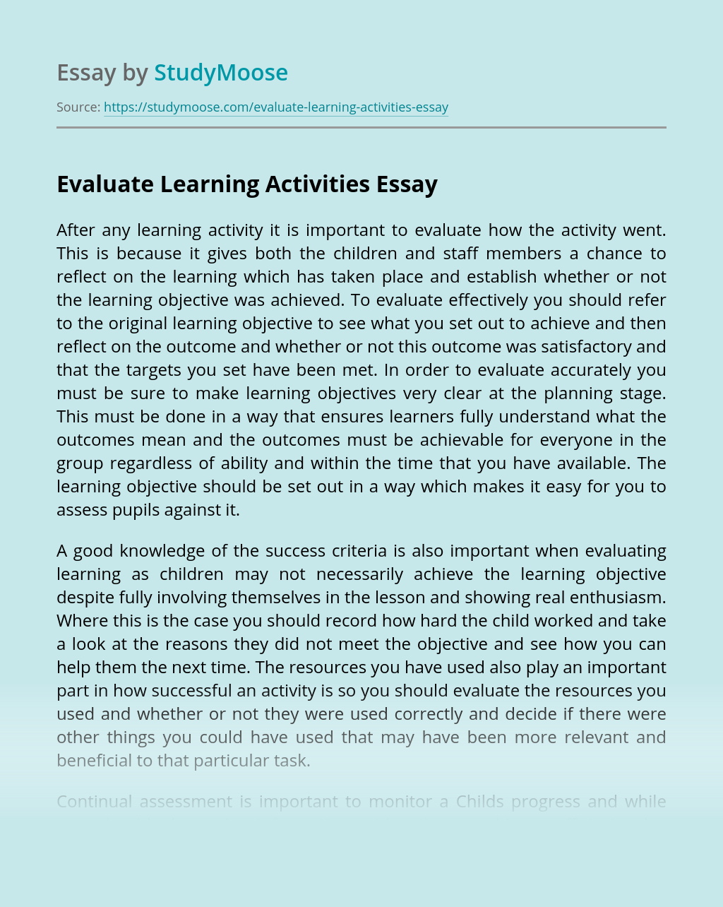 Evaluate Learning Activities