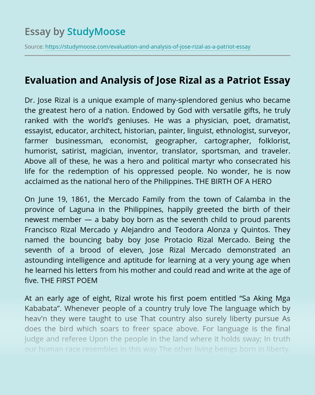 Evaluation and Analysis of Jose Rizal as a Patriot