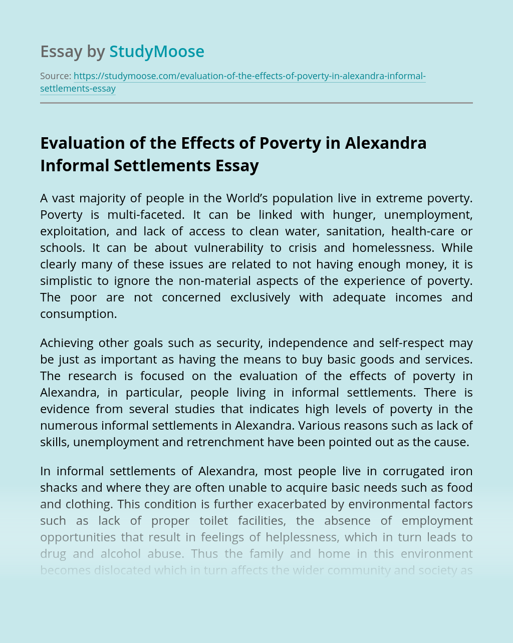 Evaluation of the Effects of Poverty in Alexandra Informal Settlements