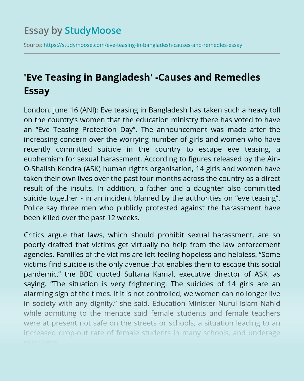 'Eve Teasing in Bangladesh' -Causes and Remedies