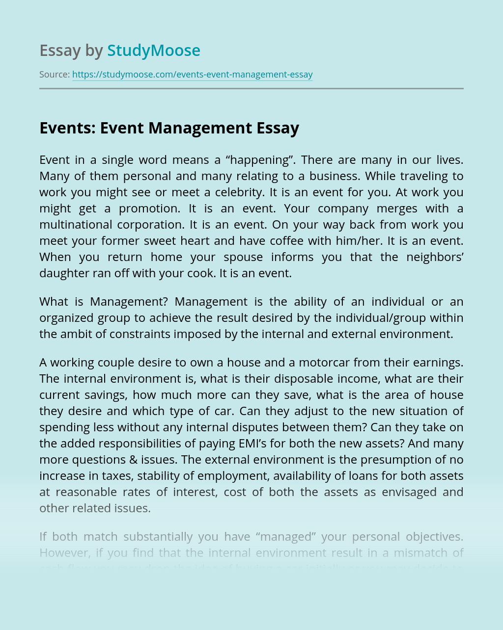 Events: Event Management