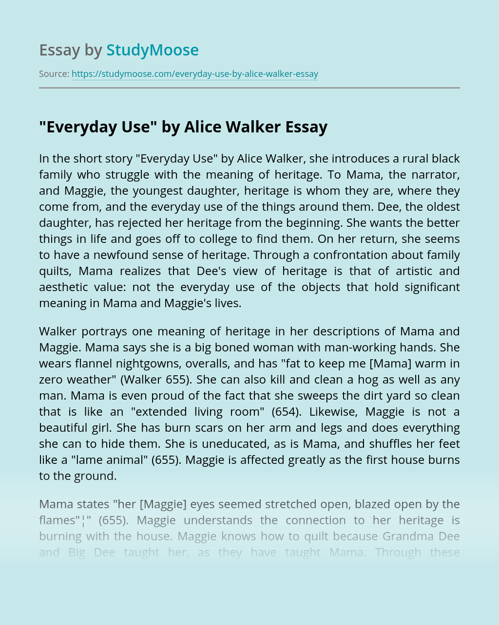 """""""Everyday Use"""" by Alice Walker"""