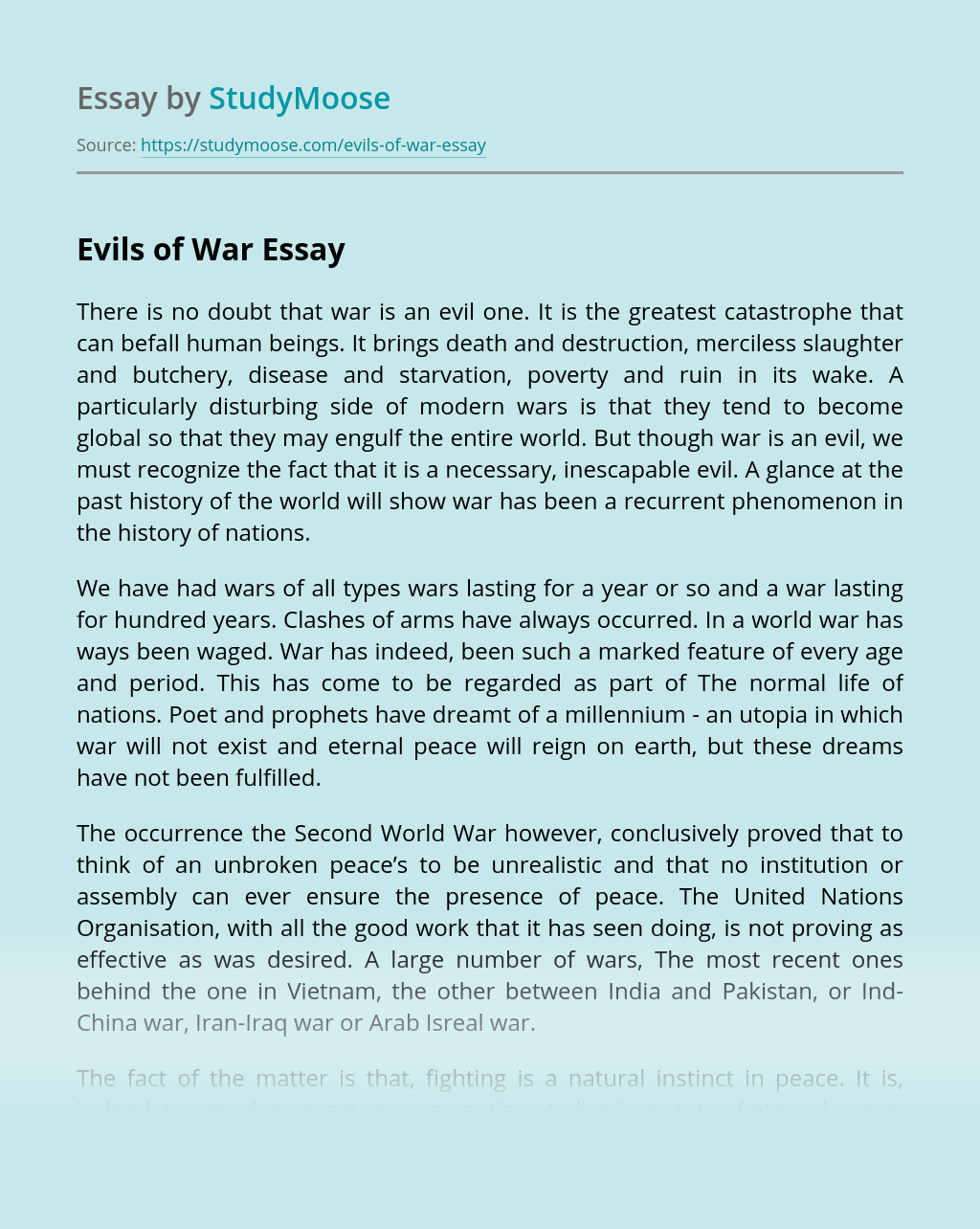 Evils of War