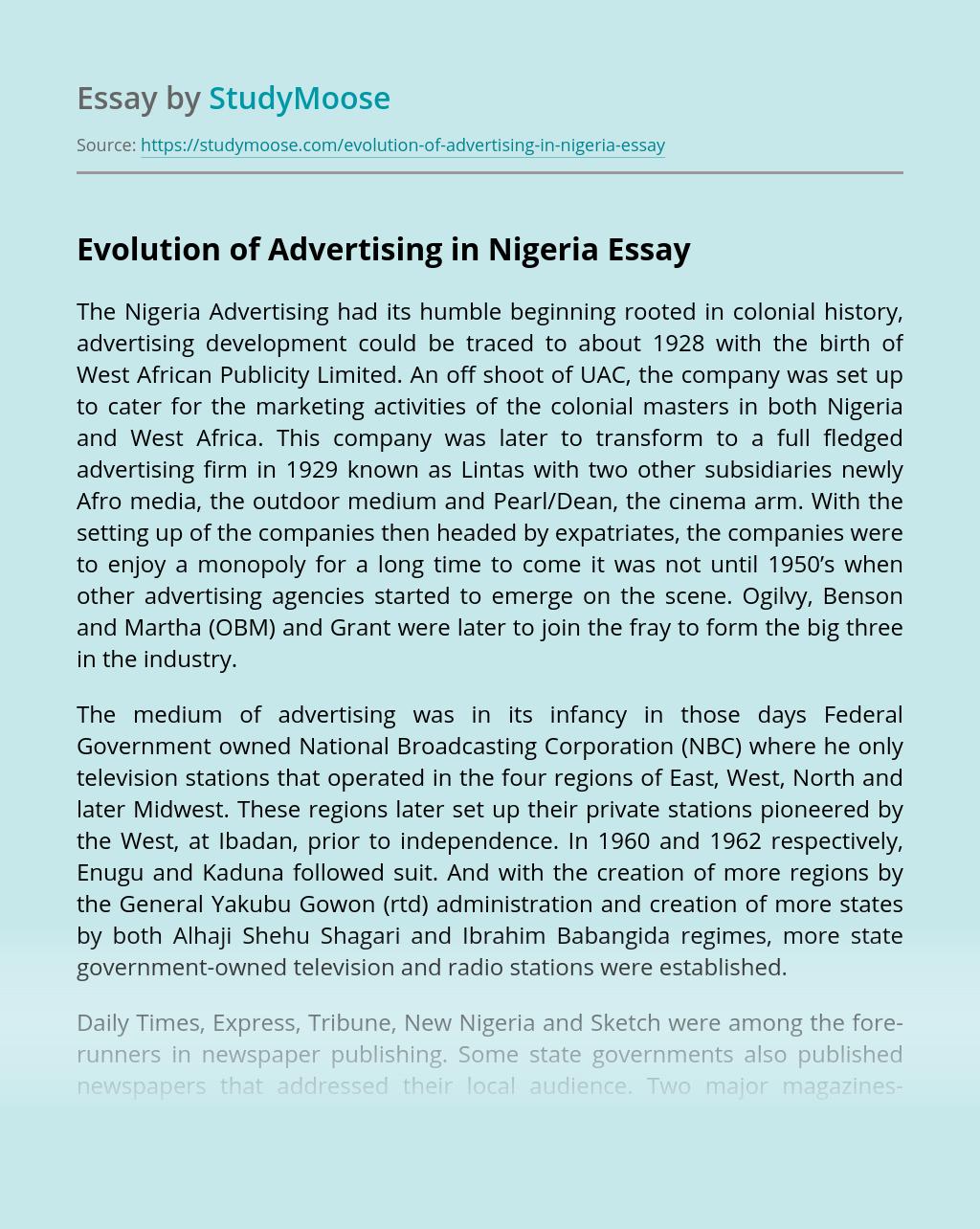 Evolution of Advertising in Nigeria