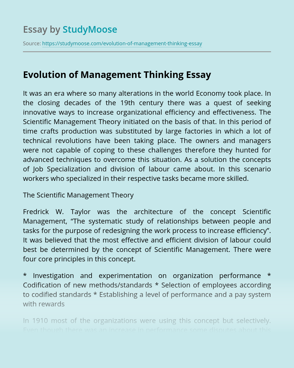 Evolution of Management Thinking