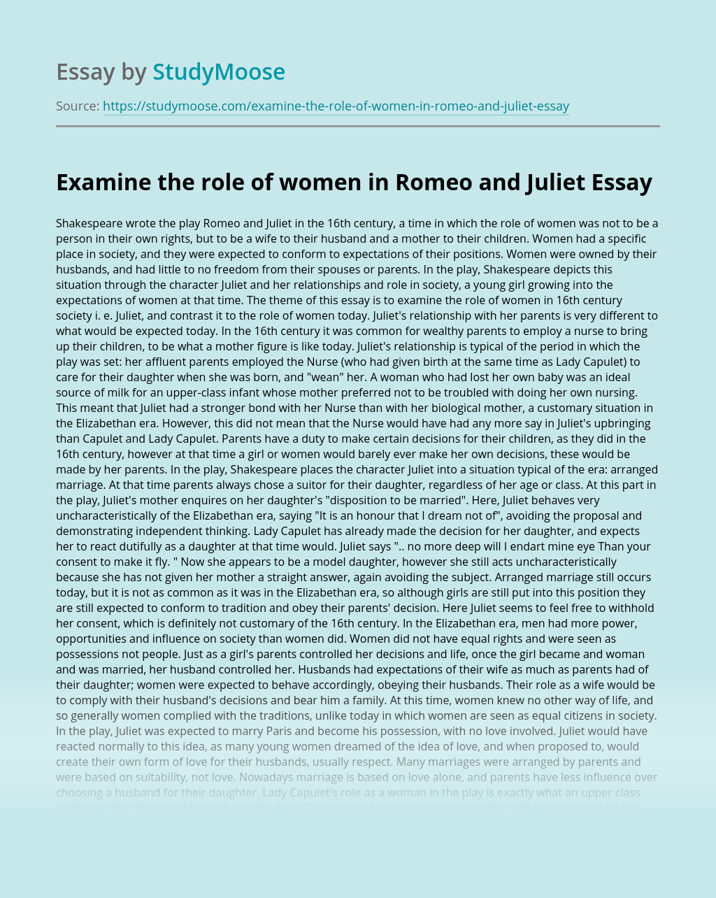 Examine the role of women in Romeo and Juliet