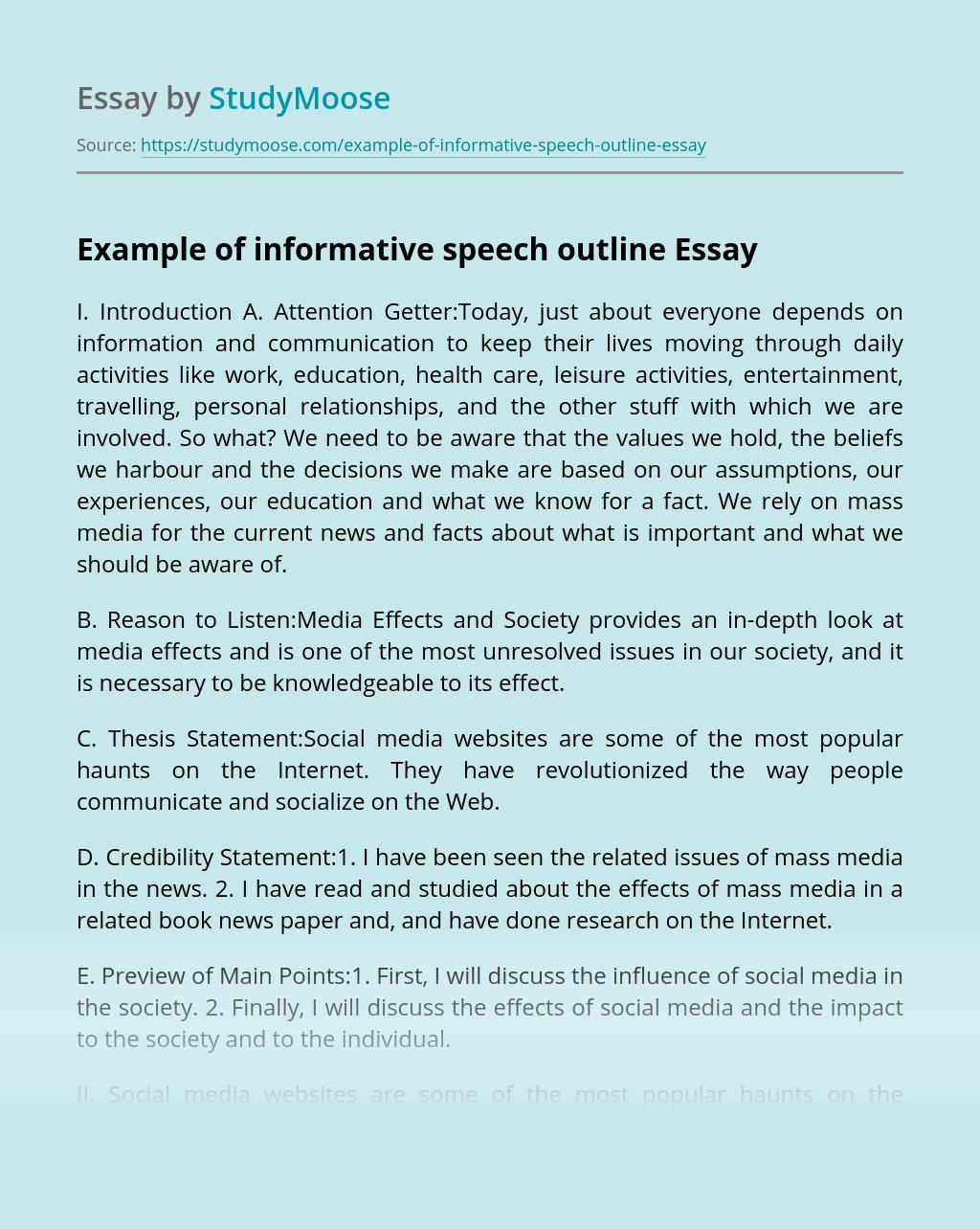Example of informative speech outline