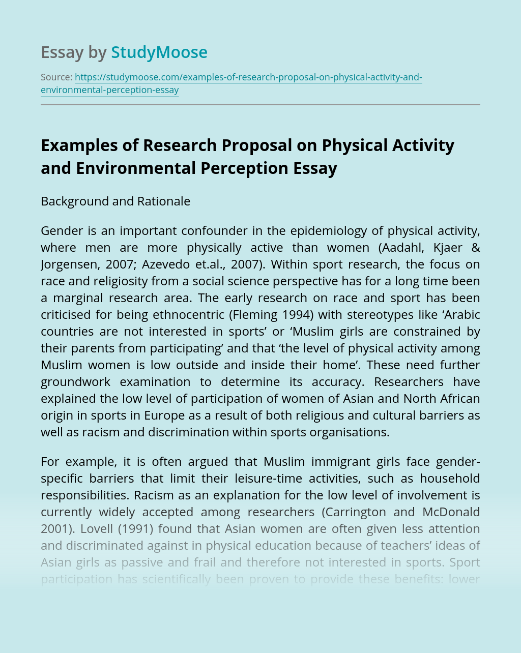 Examples of Research Proposal on Physical Activity and Environmental Perception