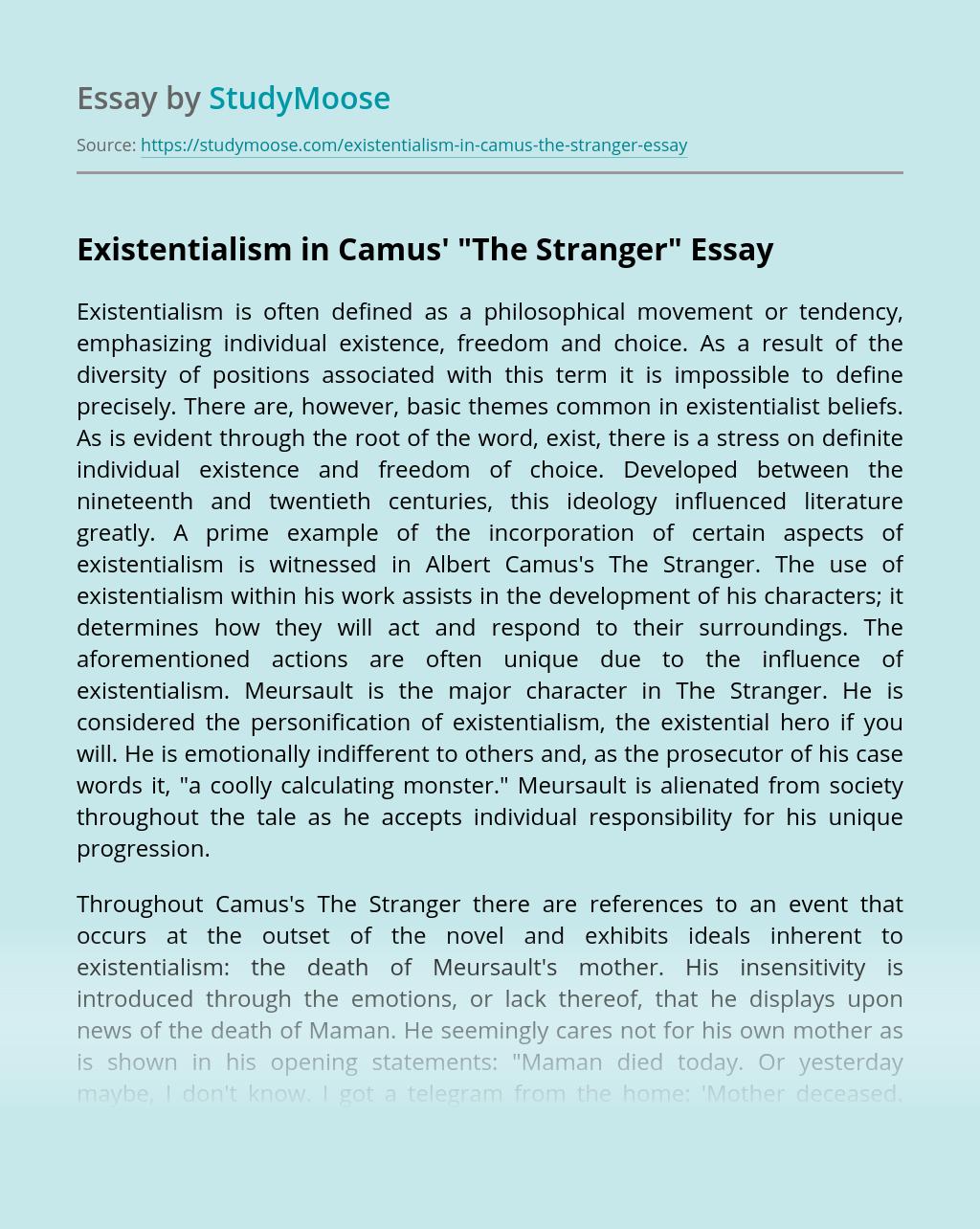 Existentialism in Camus'