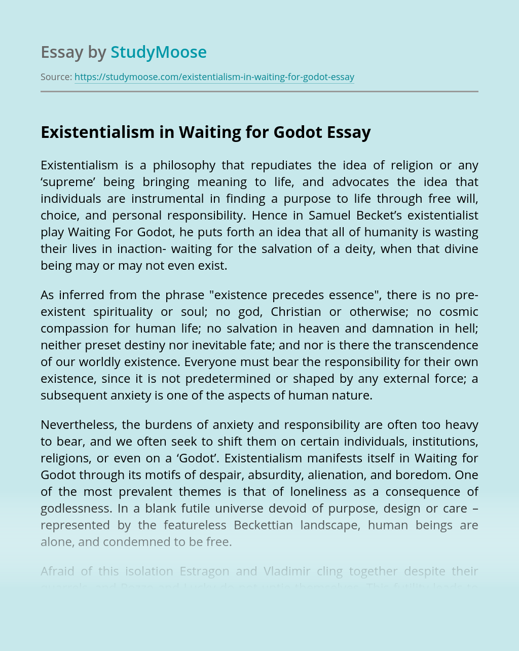 Existentialism in Waiting for Godot