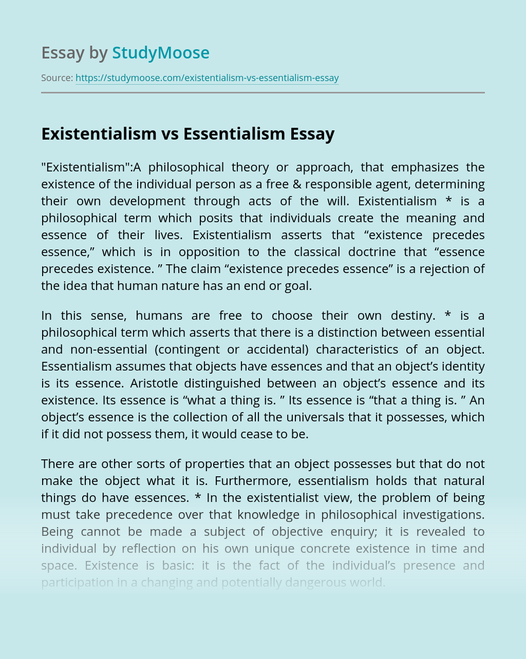 Existentialism vs Essentialism