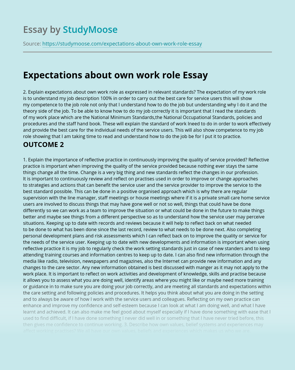 Expectations about own work role
