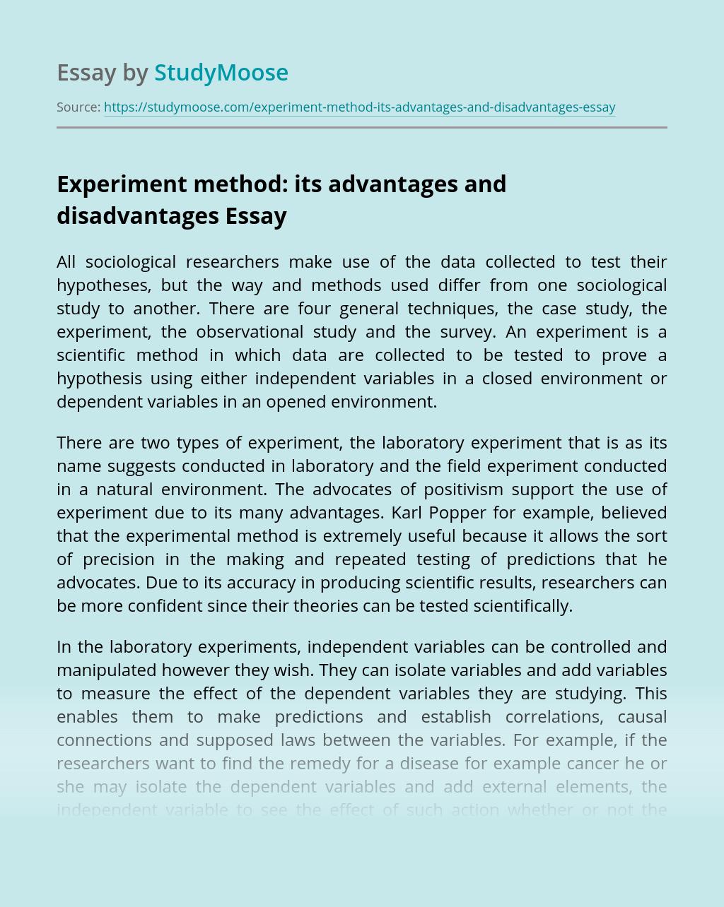 Experiment Method: Its Advantages and Disadvantages