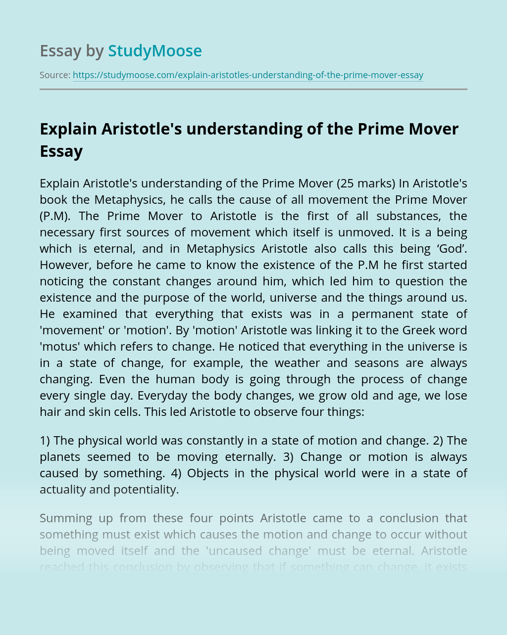 Explain Aristotle's understanding of the Prime Mover
